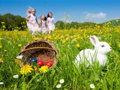Kids With Rabbit And Easter Eggs